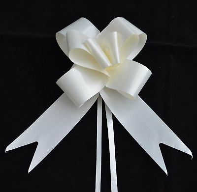 50mm Ivory Pull Bow Wedding Car Gift Wrap Birthday Floristry Decorations Xmas 10