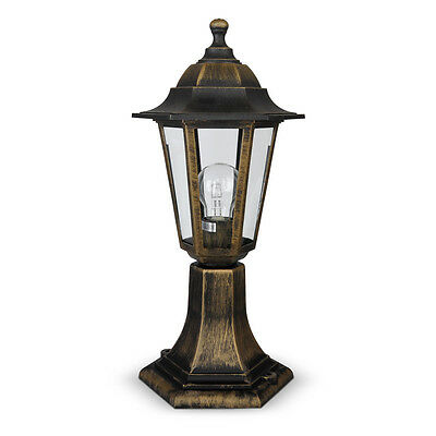 Traditional Brushed Gold / Black Outdoor Garden Patio Lantern Light Lamp Post