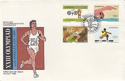 ZIMBABWE :1984 Olympic Games set on illustrated First Day Cover