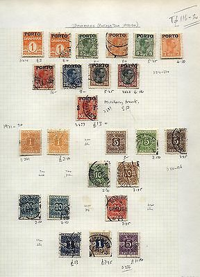 1921- DANMARK Postage Due Collection on Album page Cat £116-+
