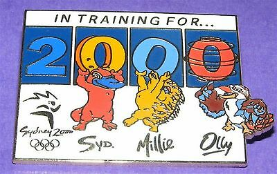 SYDNEY 2000 Summer Olympic Games PIN - Mascots in Training for 2000 LE Low #s!