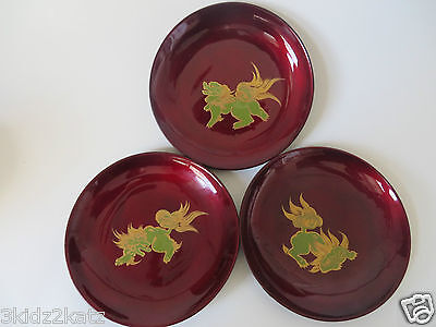 3 Vintage Red Lacquered Plates with Handpainted Lions ~ FREE SHIPPING!!!