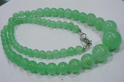 """Light Green 6-14mm Natural Emerald Round Beads Necklace 18"""" SF"""