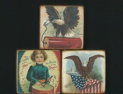 Wood Blocks~Patriotic~Eagle~American Flag~Fireworks~Statue Of Liberty~July 4th
