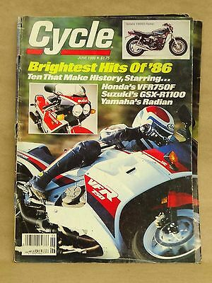 Vintage Cycle Magazine June 1986 Motorcycle YX600 S VFR750 R GSX-R1100 Radian