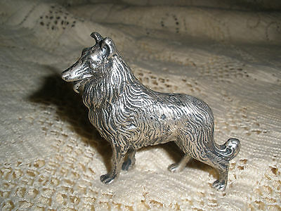 "Vintage MINIATURE / DOLL HOUSE COLLIE DOG SILVER 800  W/ Hallmark 2.25"" 80 Grams"