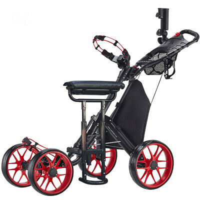 CaddyTek CaddyCruiser ONE v3 Folding 4 Wheel Golf Buggy Red + Removable Seat