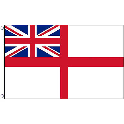 White Ensign Flag 5Ft X 3Ft Uk English Royal Navy Naval Banner With 2 Eyelets