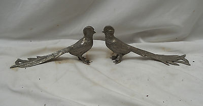 Stunning VINTAGE PAIR Of SILVER Coloured PHEASANTS Lovely COLLECTABLE 18cm Long