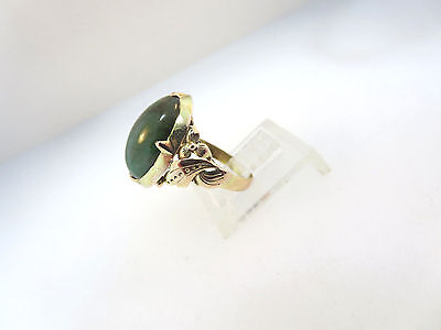 ANTIQUE ART NOUVEAU 14k ROSE & Y/GOLD RING JADE? GREEN TURQUOISE? STONE SZ 5