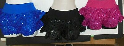 NWT Dance Jazz Tap TWO-TIER SEQUIN RUFFLED SKIRT 3 Color Choices Ladies/Child Sz