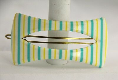 60s VINTAGE Hair Jewelry FRENCH PLASTIC TURQUOISE STRIPED BARRETTE - 5 AVAILABLE