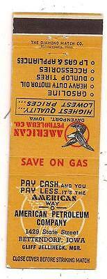 American Petroleum Company 1429 State Street Bettendorf IA Matchcover 050415