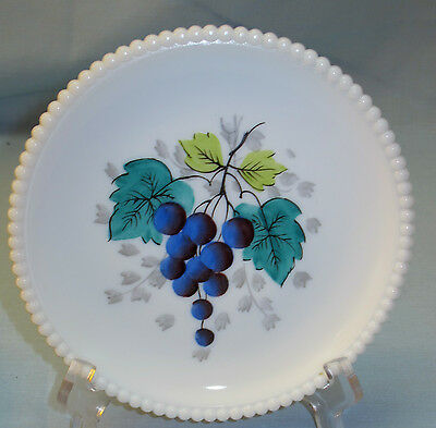 WESTMORELAND BEADED EDGE MILK GLASS SALAD PLATE w HAND PAINTED GRAPES