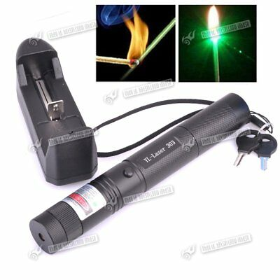 303 Green Pointer Laser Pen Adjustable Focus 532nm Burning 1mw + 18650 Charger