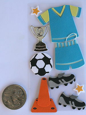 SCRAPBOOKING NO 100 - 9 small to medium SOCCER STICKERS - SPORT