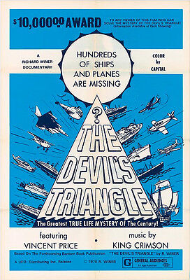 THE DEVIL'S TRIANGLE original one sheet movie poster VINCENT PRICE/KING CRIMSON