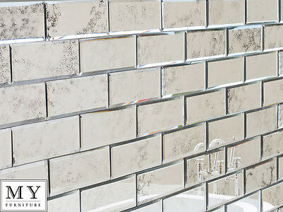 Antiqued mirror beveled wall tiles / bathroom kitchen MY-Furniture brick size