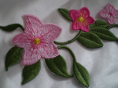 NEW 100% EMBROIDERY IRON ON PINK STUNNING FLOWER VINE MOTIF PATCH  LARGE 24cm