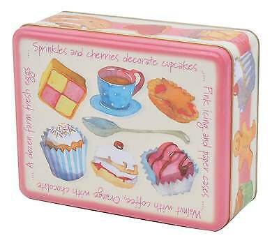 Tea Time Rectangular Biscuit Sweets Cake Cookie Collectable Tin New Free Postage