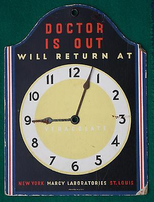 1960s Vercolate Laxative DOCTOR IS IN ~ OUT Advertising Clock Sign