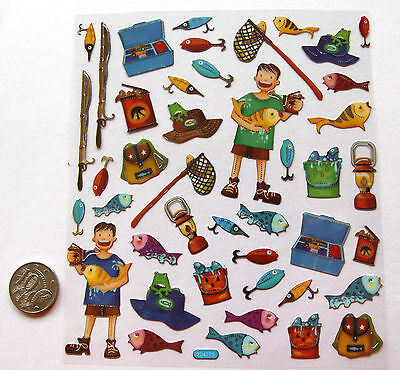 SCRAPBOOKING NO 083 - 35 plus small to medium FISHING STICKERS
