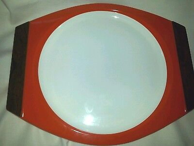 4 Orange New Mar inc Woodhue Thermoware Plates with Faux Wood Handles