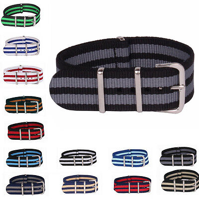 20mm Nylon Stripe Nato Cambo Watch Strap Wristwatch Bands Buckle Watchband