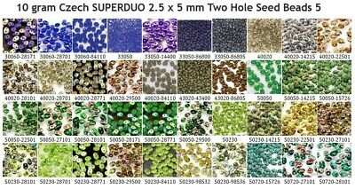 10 gram or 24 gram Czech SUPERDUO 2.5 x 5 mm Two Hole Seed Beads 5