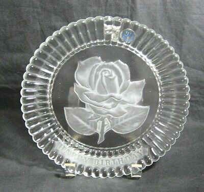 Goebel Crystal Glass Happy Birthday Collector Plate Frosted Rose