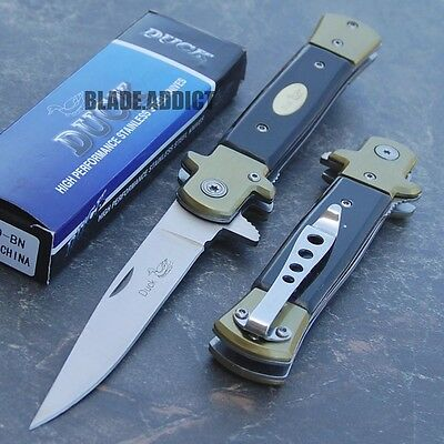 """9"""" Classic German Style Stiletto Tactical Spring Assisted Folding Pocket Knife U"""