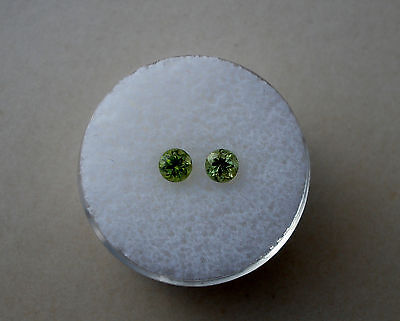 Peridot Round Loose Gem Pair 4mm each