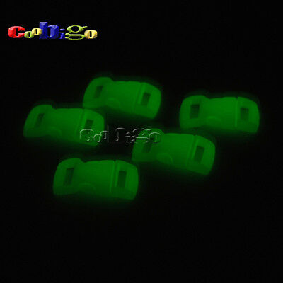 "10 X Glow in Dark 3/8"" Contoured buckle for Paracord Bracelet B"