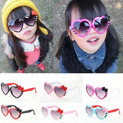 New Boys Girls Sunglasses Love Heart Shaped Bow Decoration Children Kids Glasses
