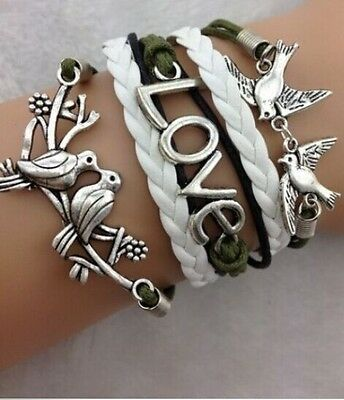 NEW Hot Infinity Love Double bird Leather Cute Charm Bracelet Silver DIY SL223C