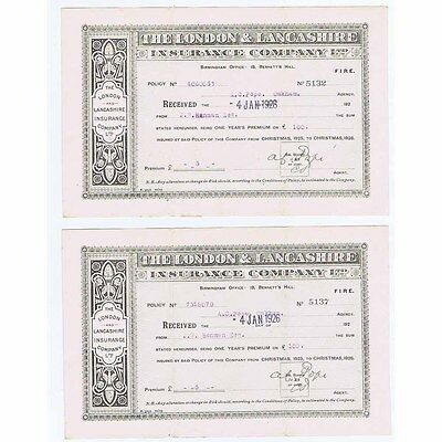 1926 Billheads (Set of 2) The London and Lancashire Insurance Company Ltd