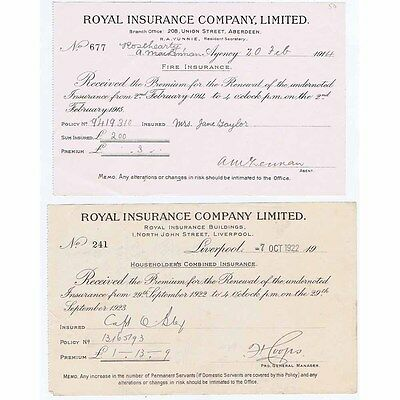 1922 Billheads (set of 2) Royal Insurance Company; North John St, LIVERPOOL