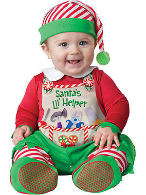 Santas Lil Helper Baby Babygrow Christmas Elf Outfit Toddler Fancy Dress Costume