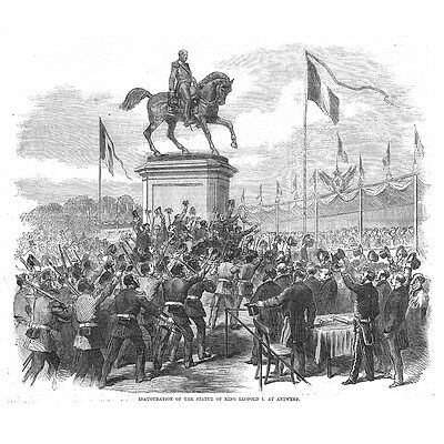 BELGIUM Inauguration of King Leopold I Statue at Antwerp - Antique Print 1868