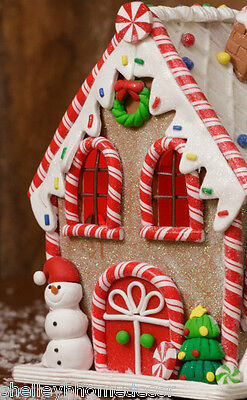 Gingerbread Candy Christmas House w snowman peppermint clay dough  NEW hd7L8512