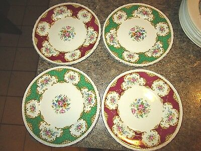 Lot of 4 red and green Myott Staffordshire made in England gold rim - DAV