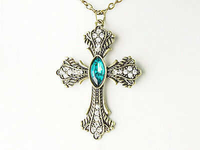 Vintage Inspired Gold Tone Blue Sapphire Cross Hanging Style Pendant Necklace