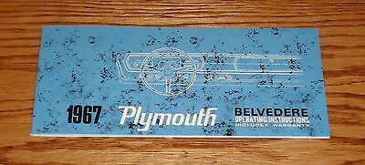 1967 Plymouth Belvedere Owners Operators Manual 67