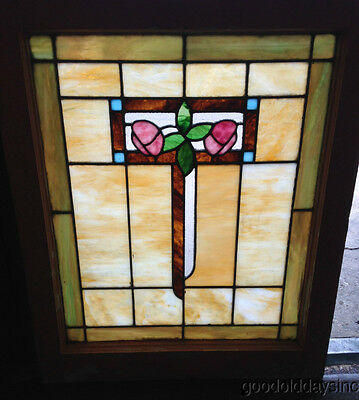 "Antique Stained Leaded Glass Bungalow Window 29"" tall x 24"" wide"