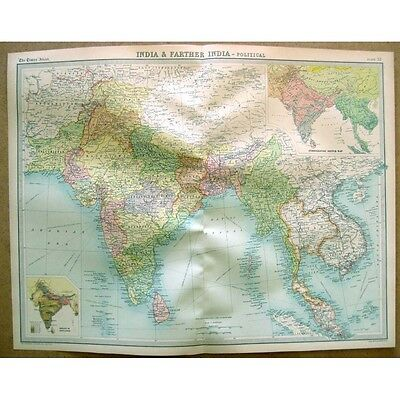 INDIA & FARTHER INDIA Political - Vintage Map 1922 by Bartholomew