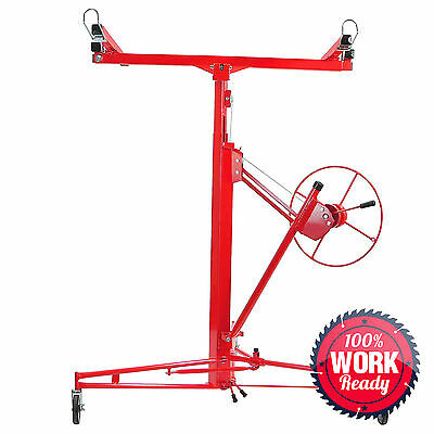 Drywall Lift Jack - Panel Lifter Rolling Hanging Hoist - 11' Red