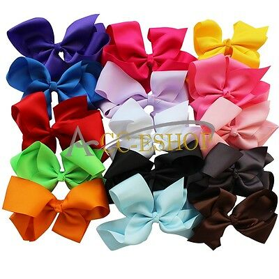 15PCs Lovely 6'' Big Hair Bows Boutique Girls Clip Headband Hair Band accessory