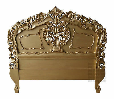 Rococo Headboard - Gold - Suitable Double or King Size - New