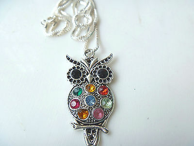 Hot 1 pcs - Rhinestone Owl Tibetan Silver Necklace Silver Plated Chain