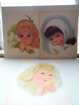 3 Vintage Young Girl Child Sketched Prints Northern Paper Mills 14'X 11""